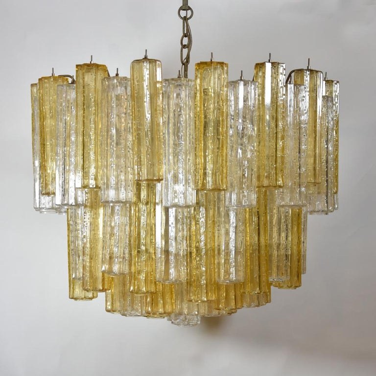 Murano Amber and Clear Tronchi Chandelier Venini Style For Sale 1