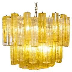 Murano Amber and Clear Tronchi Chandelier Venini Style