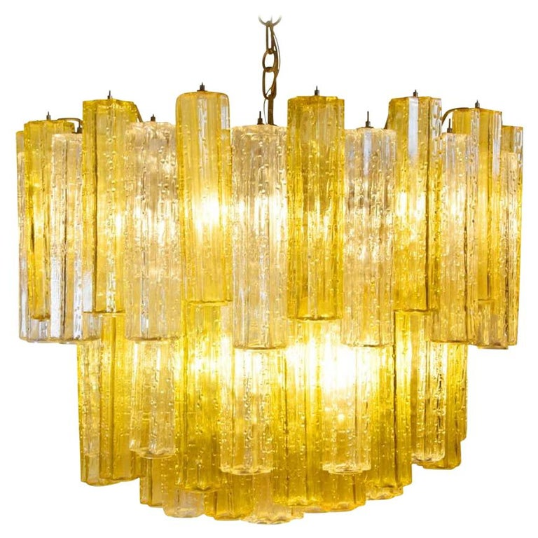 Murano Amber and Clear Tronchi Chandelier Venini Style For Sale