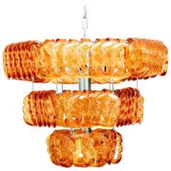 Murano Amber Art Glass Angelo Mangiarotti 'Giogali' Hanging Chandelier Light