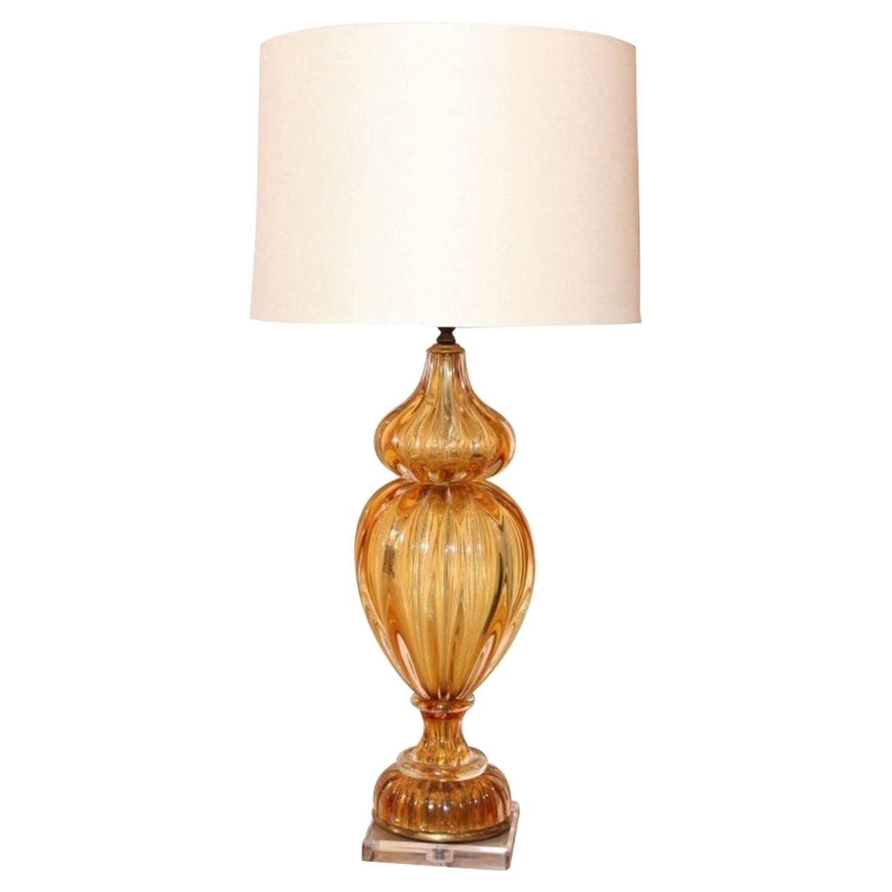 Murano Amber Color Glass Lamp by Masbro