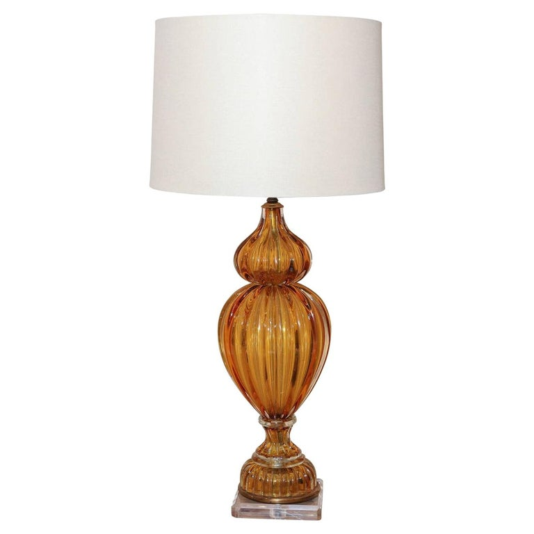 Murano Amber Color Glass Lamp by Masbro For Sale