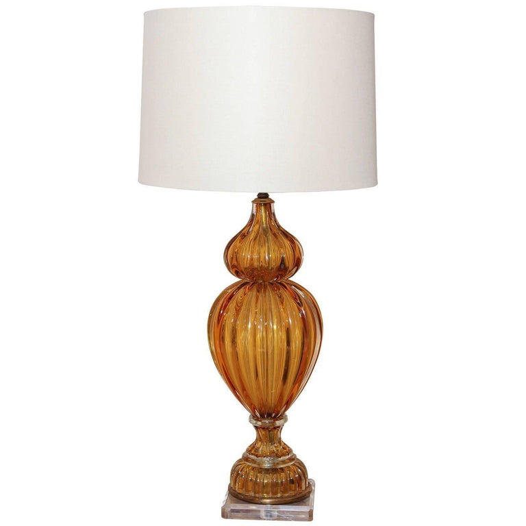 Murano Amber Color Glass Lamp by Masbro For Sale 1