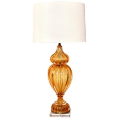 Murano Amber Color Glass Lamp