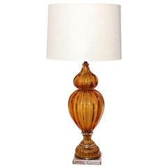 Murano Amber Color Glass Lamp