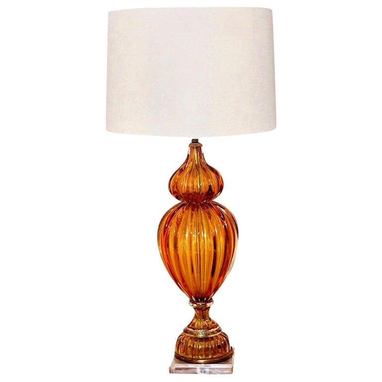 Murano Amber Color Glass Lamp by Masbro For Sale 2