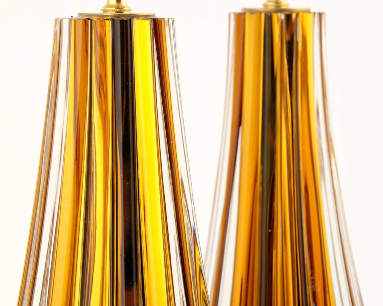 Murano Amber Glass Pair of Lamps In Excellent Condition For Sale In Austin, TX