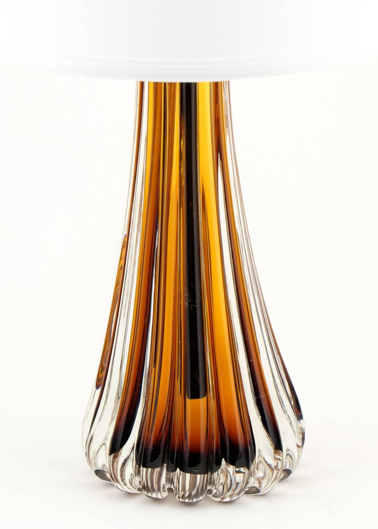 Contemporary Murano Amber Glass Pair of Lamps For Sale