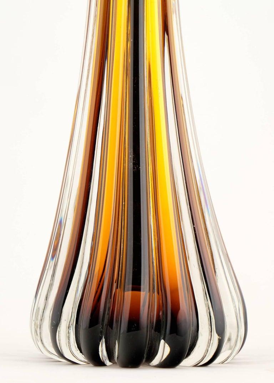 Murano Glass Murano Amber Glass Pair of Lamps For Sale