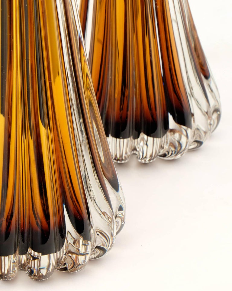 Murano Amber Glass Pair of Lamps For Sale 1