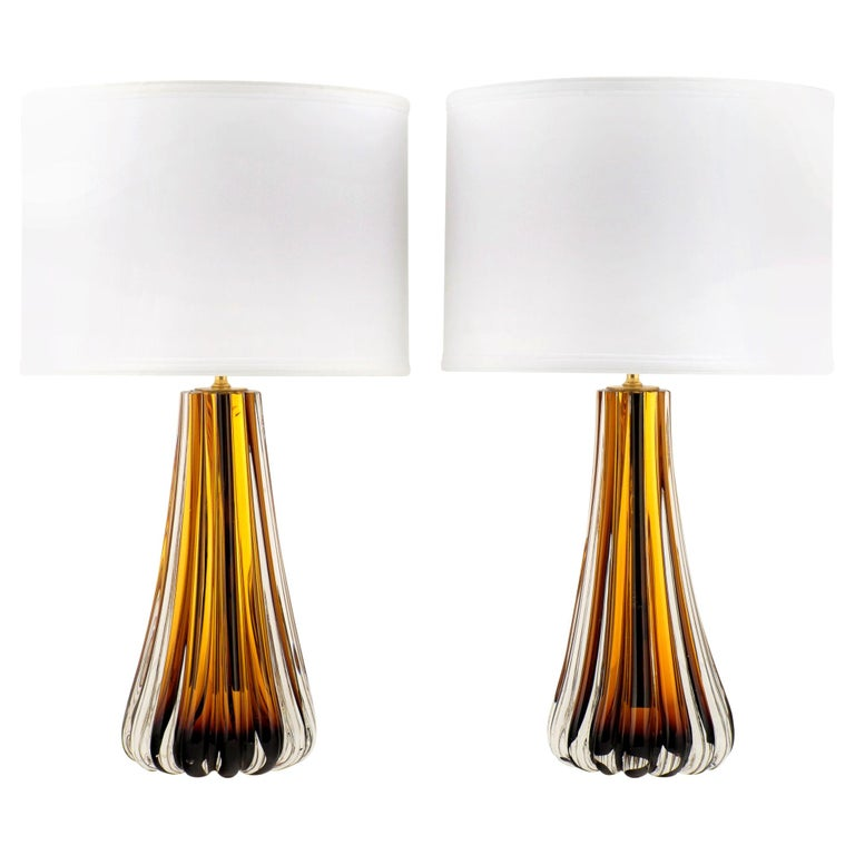 Murano Amber Glass Pair of Lamps For Sale