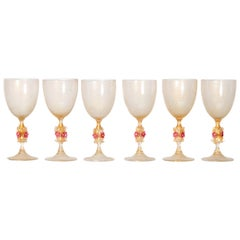 Murano Amber Glass Wine Goblets from Italy