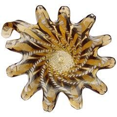 Murano Amber Gold Flecks White Spots Design Italian Art Glass Bowl Ashtray Dish