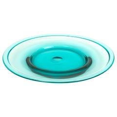 Murano Aqua Blue Glass Centrepiece Plate by Seguso Vetri d'Arte, Italy, C.1960