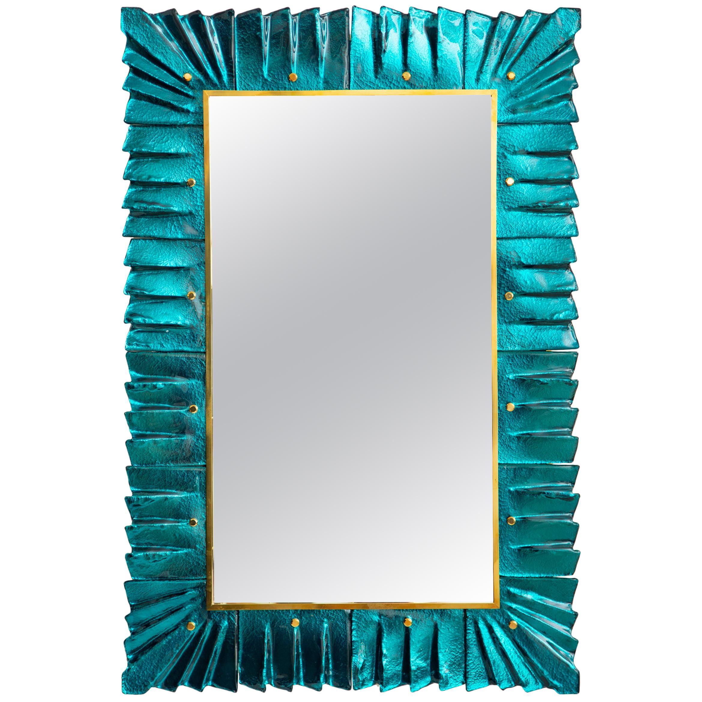 Murano Aquamarine Glass Framed Mirror, in Stock