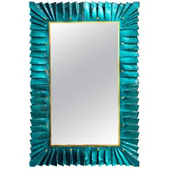 Murano Aquamarine Glass Framed Mirror, in Stock