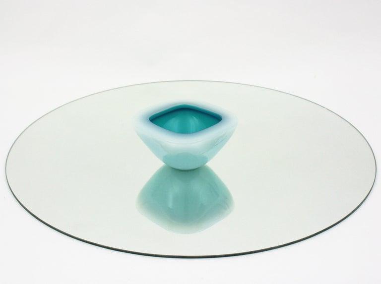 Murano Archimede Seguso Alabastro White and Blue Geode Glass Bowl, 1950s For Sale 5