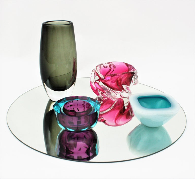 Murano Archimede Seguso Alabastro White and Blue Geode Glass Bowl, 1950s For Sale 10