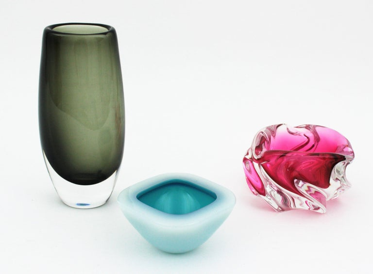 Murano Archimede Seguso Alabastro White and Blue Geode Glass Bowl, 1950s For Sale 1