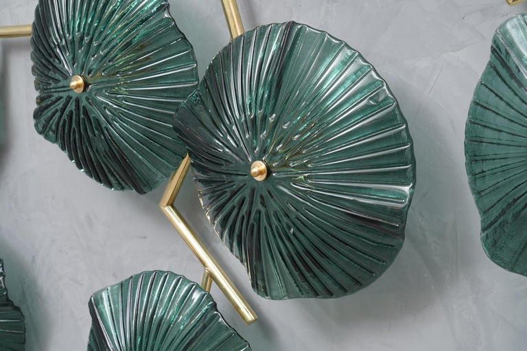 Mid-Century Modern Murano Art Glass and Brass Midcentury Chandelier / Wall Light, 1980 For Sale