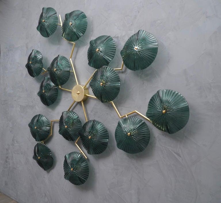 Italian Murano Art Glass and Brass Midcentury Chandelier / Wall Light, 1980 For Sale