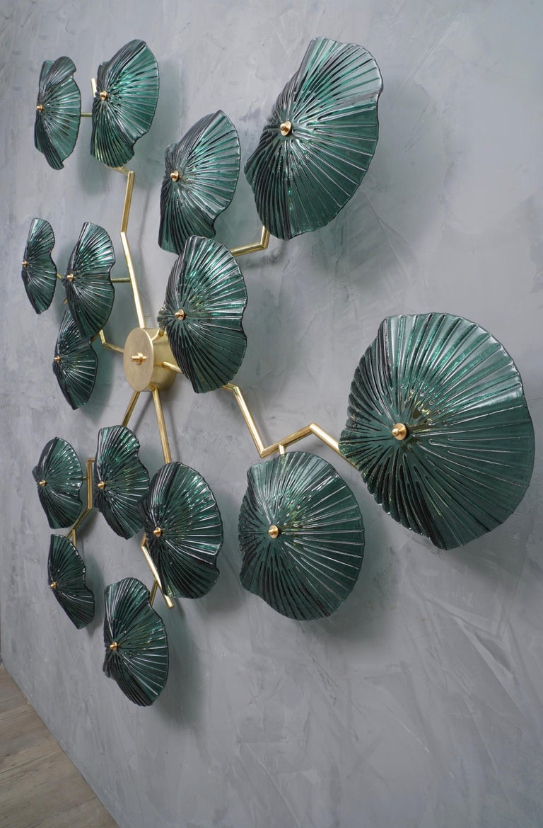 Late 20th Century Murano Art Glass and Brass Midcentury Chandelier / Wall Light, 1980 For Sale