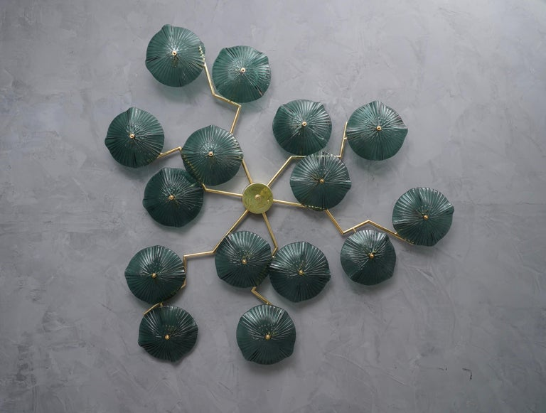 Murano Art Glass and Brass Midcentury Chandelier / Wall Light, 1980 For Sale 1