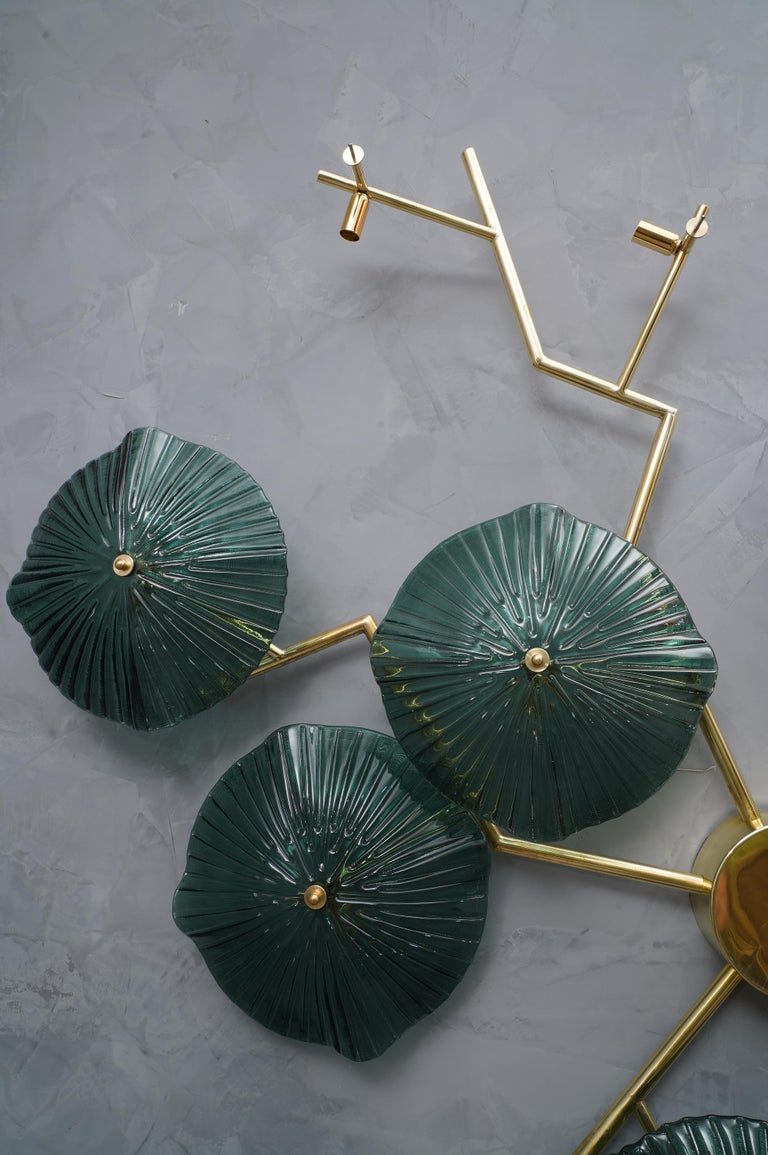 Murano Art Glass and Brass Midcentury Chandelier / Wall Light, 1980 For Sale 2