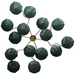 Murano Art Glass and Brass Midcentury Chandelier / Wall Light, 1980