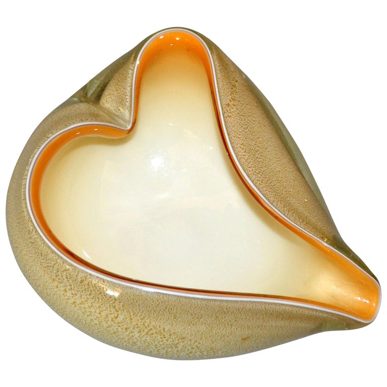 Murano Art Glass Beige & Gold Flecks Catchall, Bowl Inspired by Alfredo Barbini For Sale