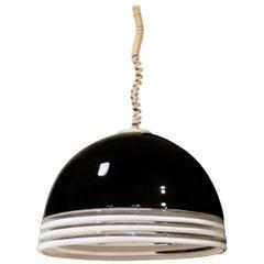 Murano Art Glass Black & Opaline Leucos Pendant by Roberto Pamio & Renato Toso