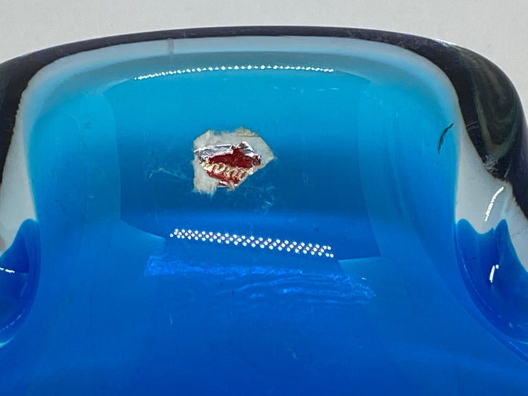 Mid-Century Modern Murano Art Glass Bowl Catchall Blue and Clear Vintage, Italy, 1970s For Sale