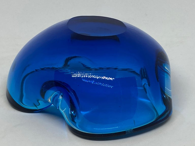 Murano Art Glass Bowl Catchall Blue and Clear Vintage, Italy, 1970s For Sale 1