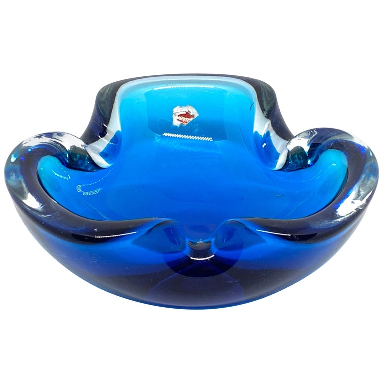 Murano Art Glass Bowl Catchall Blue and Clear Vintage, Italy, 1970s For Sale