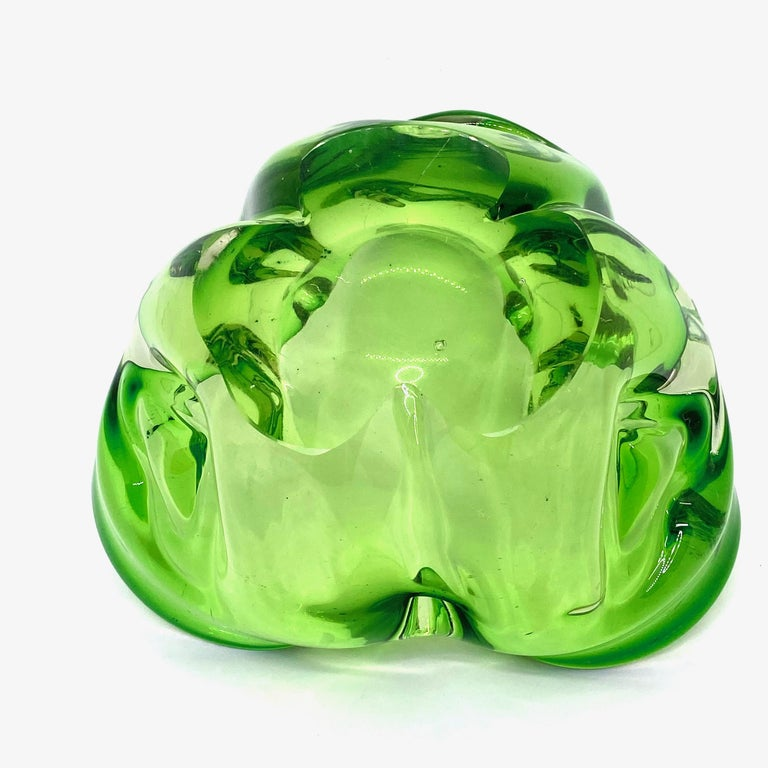Late 20th Century Murano Art Glass Bowl Catchall green and clear, Vintage, Italy, 1970s For Sale