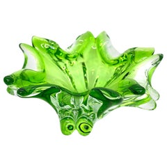 Murano Art Glass Bowl Catchall Green and Clear Vintage, Italy, 1970s