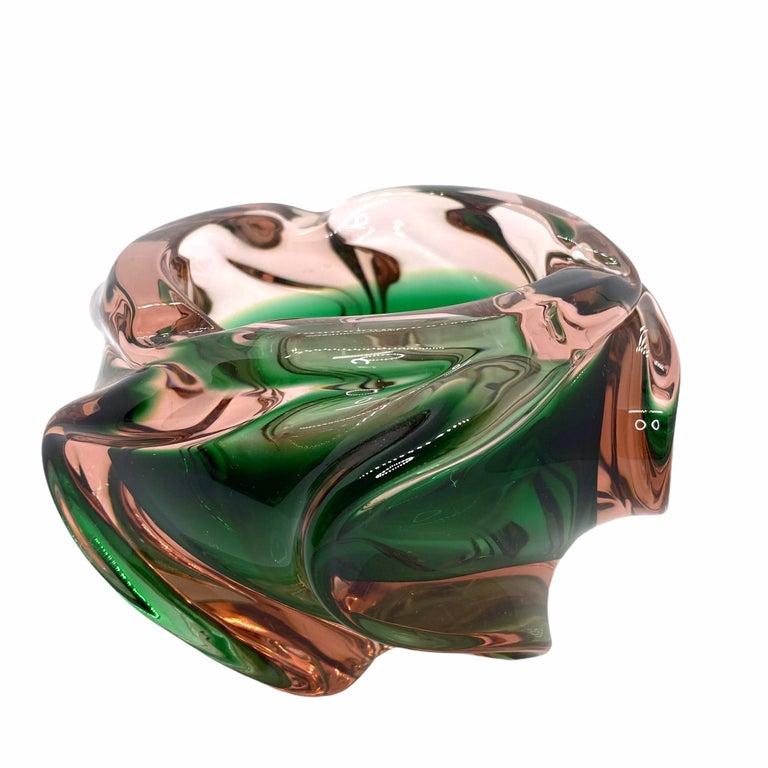Mid-Century Modern Murano Art Glass Bowl Catchall Green and dark Pink Vintage, Italy, 1970s For Sale