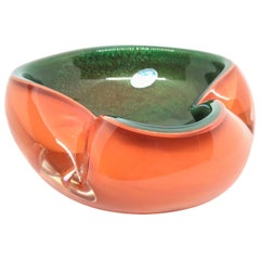 Murano Art Glass Bowl Catchall Orange, Clear and Green Vintage, Italy, 1970s