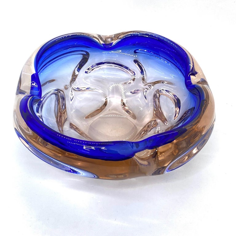 Murano Art Glass Bowl Catchall roségold and blue, Vintage, Italy, 1970s In Good Condition For Sale In Nürnberg, DE