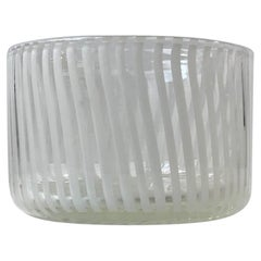 Murano Art Glass Bowl with White Stripes from Venini, 1960s