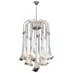 "Murano Art Glass ""Calla Flower"" Mazzega Chromed Chandelier 1970 White Turquoise"