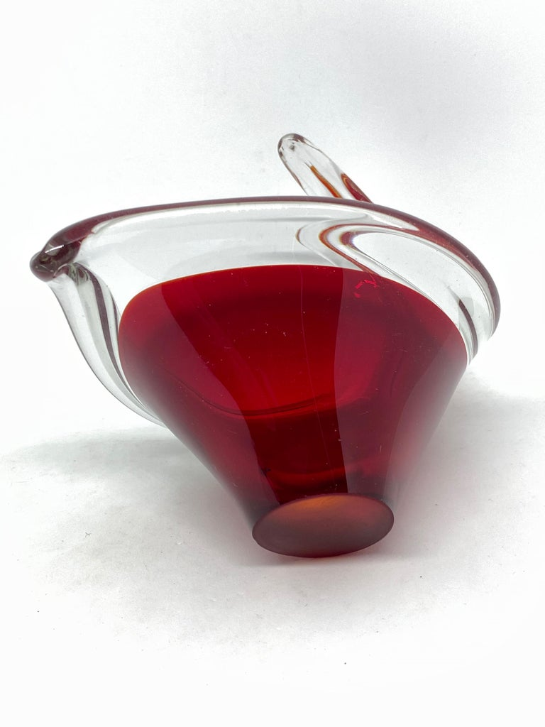 Murano Art Glass Finger Foot Bowl Catchall Red and Clear Vintage, Italy, 1970s For Sale 1