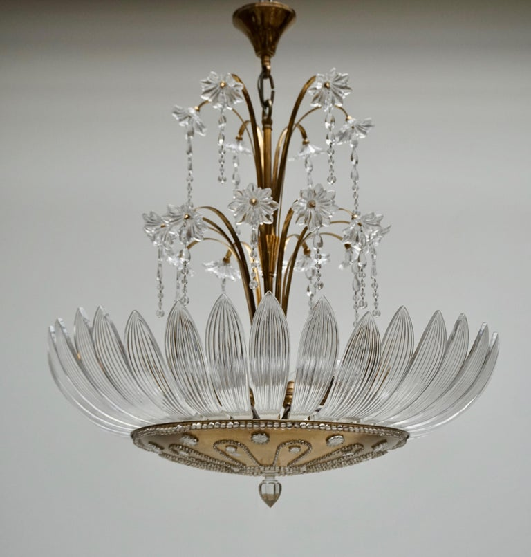Murano Art Glass Flower Leaves and Brass Chandelier For Sale 4