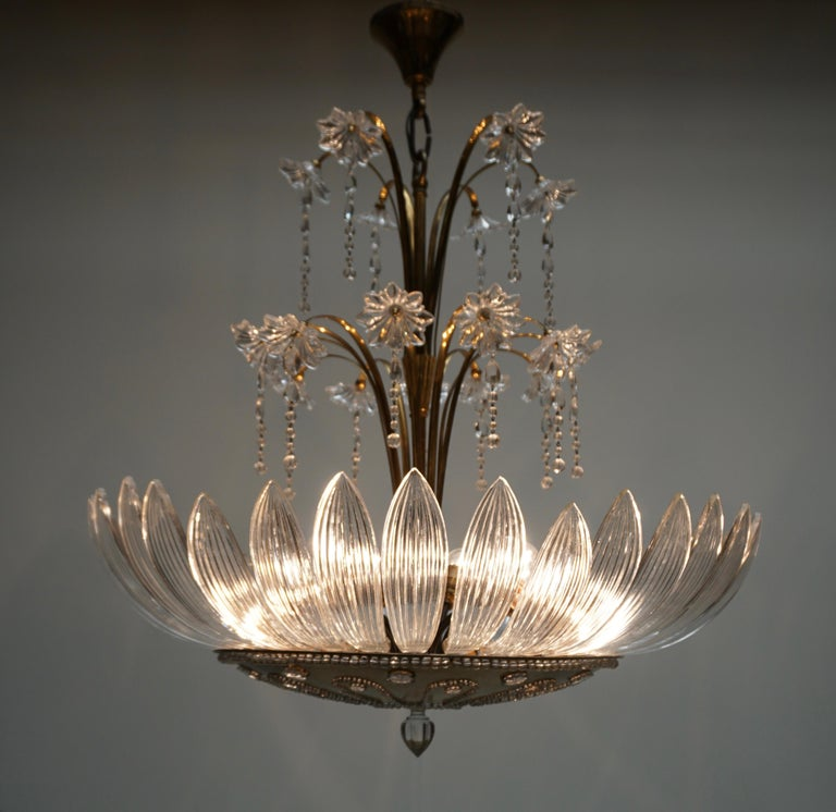 Gorgeous Italian midcentury Murano glass chandelier with hand blown glass.  Measures: Diameter 78 cm  Height fixture 70 cm Total height with canopy 90 cm Ten E27 light bulbs / Good working condition/European wiring.