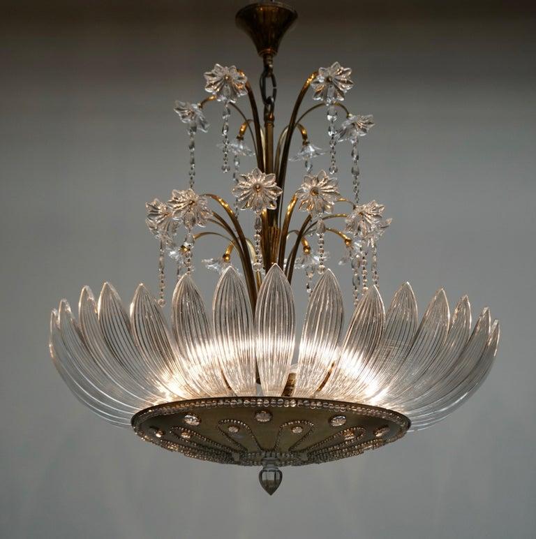 Hollywood Regency Murano Art Glass Flower Leaves and Brass Chandelier For Sale