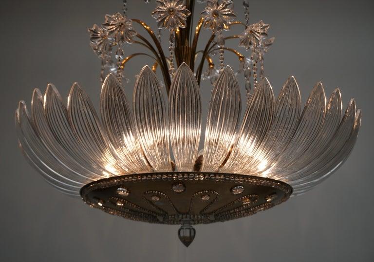 Italian Murano Art Glass Flower Leaves and Brass Chandelier For Sale