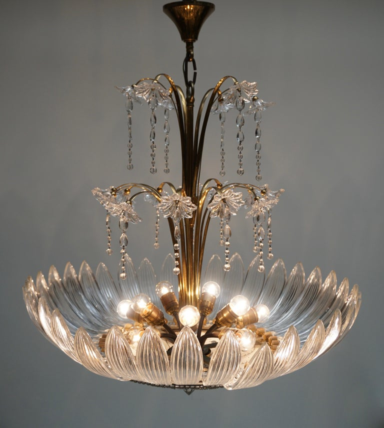 20th Century Murano Art Glass Flower Leaves and Brass Chandelier For Sale