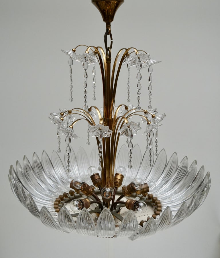Murano Art Glass Flower Leaves and Brass Chandelier For Sale 1