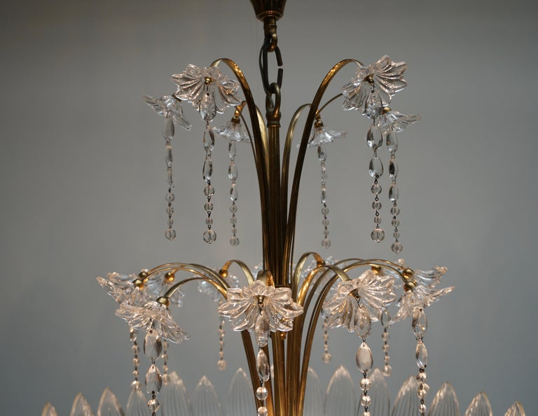 Murano Art Glass Flower Leaves and Brass Chandelier For Sale 3