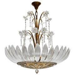 Murano Art Glass Flower Leaves and Brass Chandelier
